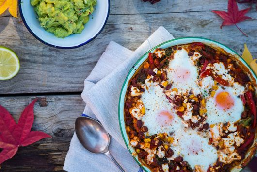 Huevos Rancheros with avocado salsa