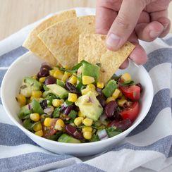 Black bean, corn and avocado salad with tortilla chips