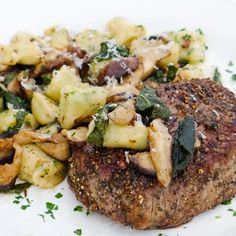 Pepper-Crusted Filets with Ricotta Gnocchi, Shiitakes & Brown Butter-Sage Sauce