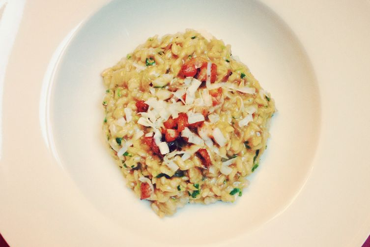 Spring Vegetable Risotto with Pancetta and Pecorino Romano