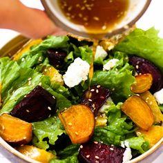 Roasted Beet Salad with Orange Citrus Vinaigrette and Goat
