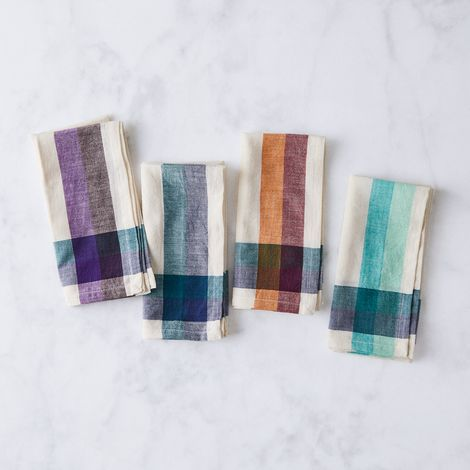 Handwoven Cotton Check Stripe Napkin (Set of 4)