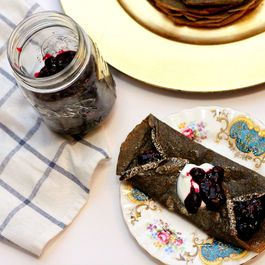 buckwheat crepes with homemade fruit jam