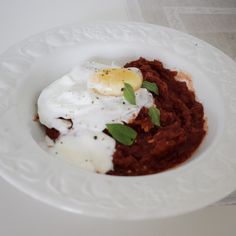 Beetroot dhal and poached egg