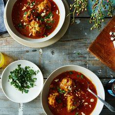 Avocado Dumplings in Curry Tomato Broth