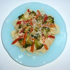 Three Cheese Noodles and Spicy Vegetable Comfort Food