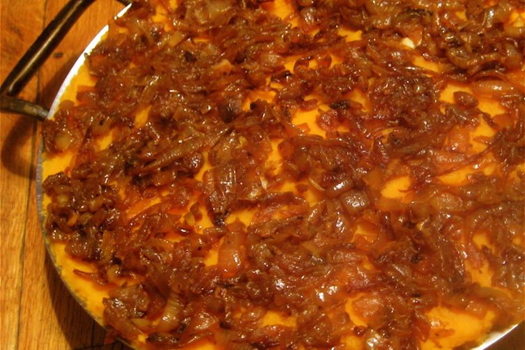 Semi-Sweet Potato Mash with Spiced Caramelized Onions