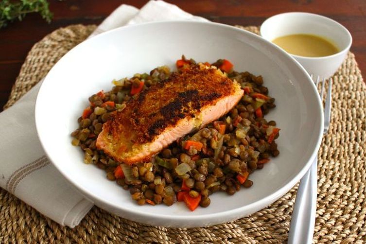 Mustard Crusted Salmon with French Lentils