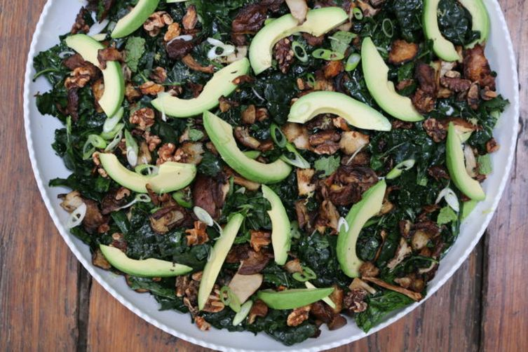 Lacinato Kale, Roasted Wild Mushroom and Avocado Salad