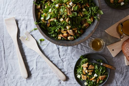 Brussels Sprouts & Apple Salad with Cheddar & Rye Bread Crumbs