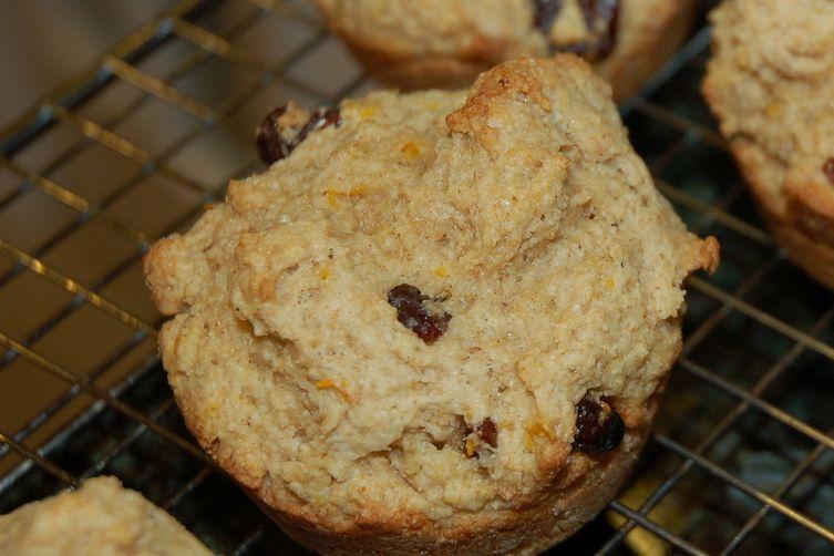 Orange coriander cherry muffins