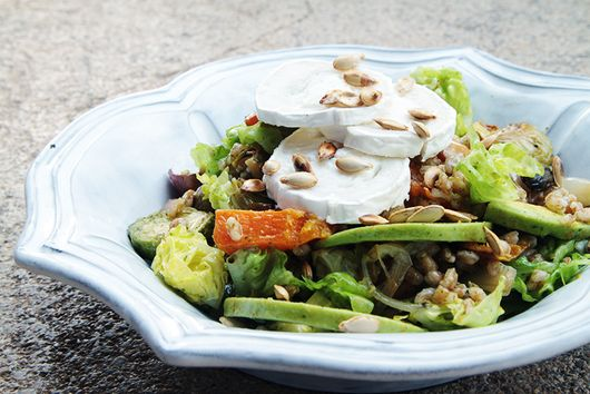 Roasted pumpkin salad with Brussels sprouts and farro