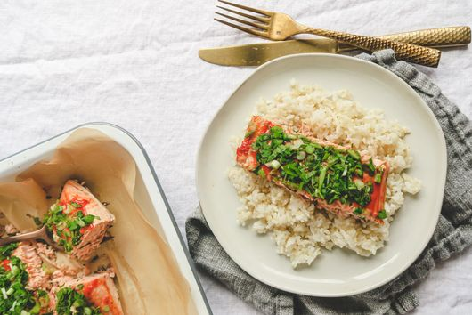 Easy Ketchup Baked Salmon with Scallion and Cilantro