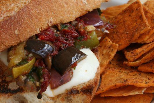 Mediterranean Vegetable Sandwich with Sundried Tomato Pesto and Fresh Mozzarella