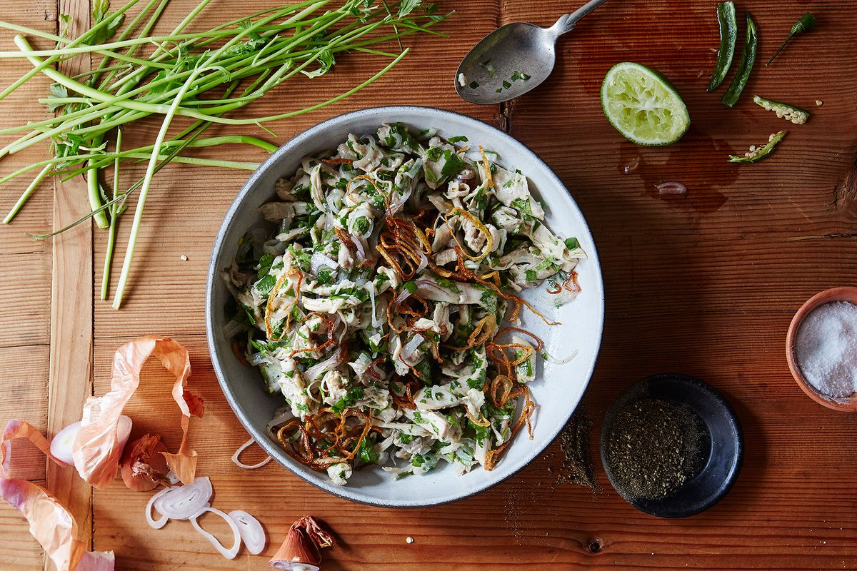 Burmese Chicken Salad with Fish Sauce and Fried Shallots Recipe