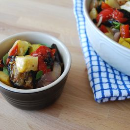 Grilled ratatouille with tomato ragout