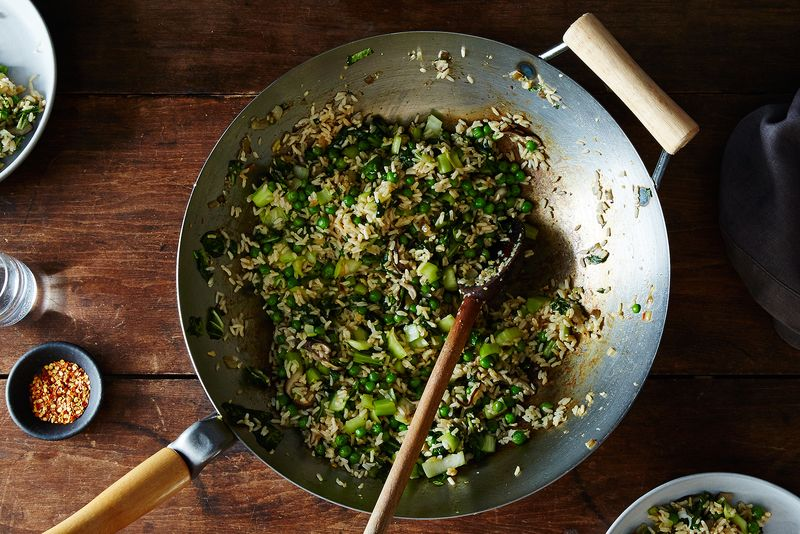Fried Rice with Ginger, Bok Choy, and Peas