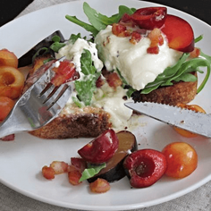 Burrata Toasts with Stone Fruit, Arugula, and Pancetta