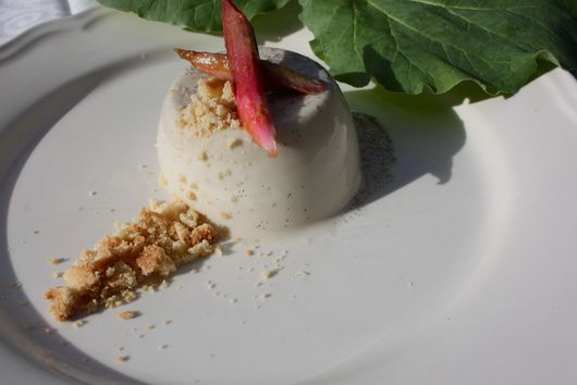 Vanilla Pannacotta, Poached Rhubarb and Shortbread Crumb