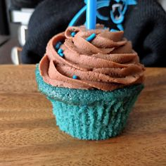 Blue Velvet Cheerwine Cupcakes with Chocolate Buttercream