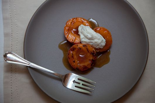 Grilled Apricots with Whipped Ricotta, Basil and Sherry Vinegar Syrup