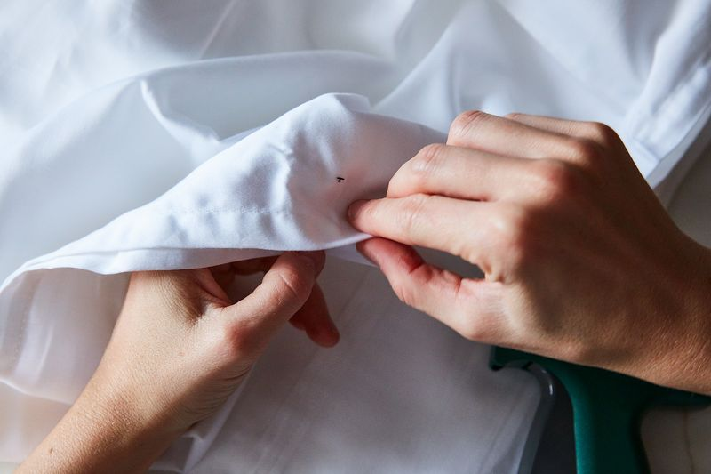 Check a hem to see how your tailor's craftsmanship holds up (this one's Micro-stitched—theirs shouldn't be!).