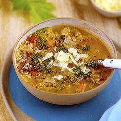 Quinoa Minestrone with Kale Pesto