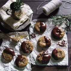 Rosemary, Hiddles, & Honey Chocolate-Dipped Cookies