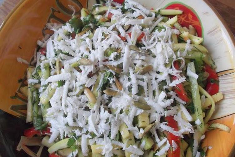 Mexican Squash and Cucumber Salad with Herbs, Feta and Scallions