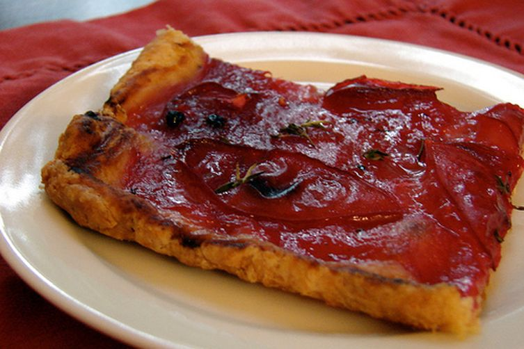 Plum Tart with Parmesan and Black Pepper Crust