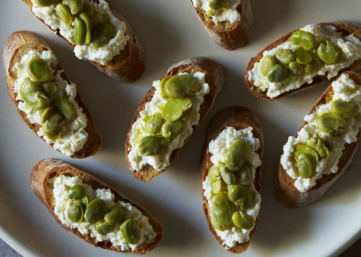 Fava Bean and Fresh Ricotta Crostini from Food52