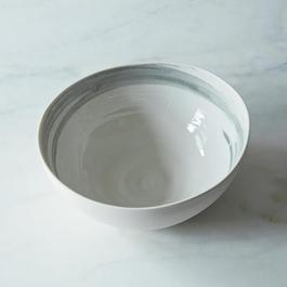 Brushstroke Serving Bowl in White with Charcoal