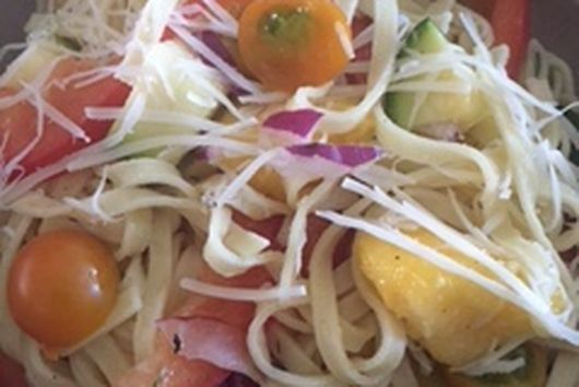 Peach and Zucchini Pasta with Summer Vegetables