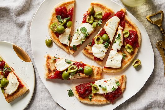 Flatbread With Taleggio, Tomato Jam & Olives