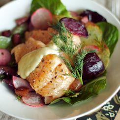 Warm Steelhead and Roasted Beet Salad with Crispy Potatoes