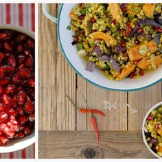 Roasted squash salad with pearl barley and pomegranate