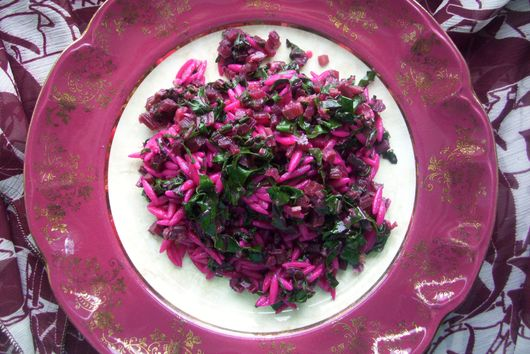 Warm beet and orzo salad