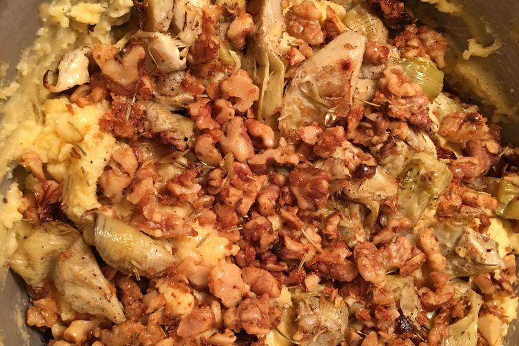 Artichoke walnut polenta