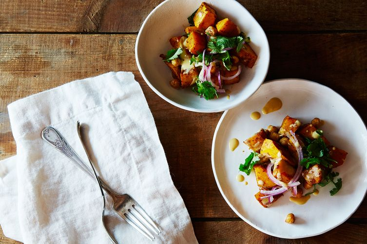 Roast Squash & Chickpea Salad with Orange-Tahini Dressing