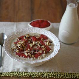 Brown Rice Porridge With Pecans & Strawberry Rhubarb Puree