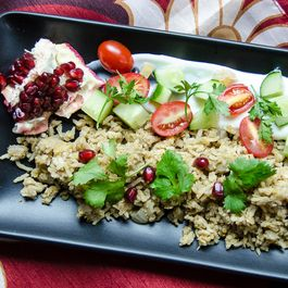 Red Lentils & Rice with Yogurt, Preserved Lemon & Pomegranate