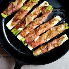 Baked Leeks with Chevre, Proscuitto, and Mustard-Champagne Dressing