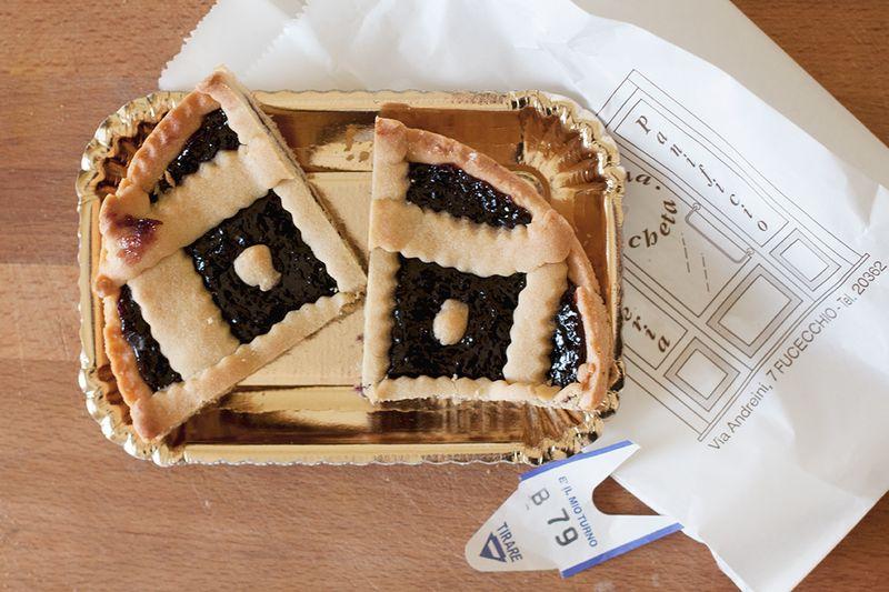Blackberry jam crostata.
