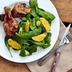 Honey Garlic Chicken Drumsticks with Spinach, Avocado and Orange Salad