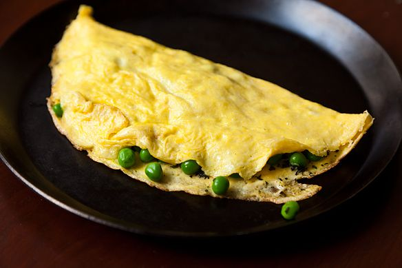 Omelet with petit Peas and Marscapone