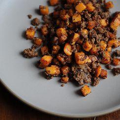 Merguez and Sweet Potato Hash
