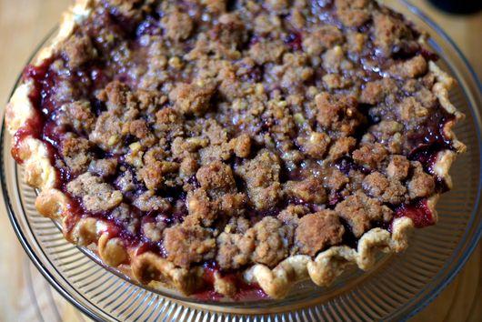 Spiced Plum Crumble Pie