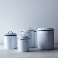 White & Grey Enamel Kitchen Canisters (Set of 4)
