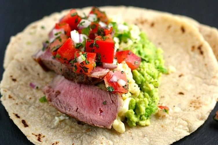 Hanger Steak Breakfast Tacos with Avocado Mash