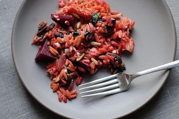 Warm Orzo Salad with Beets & Greens